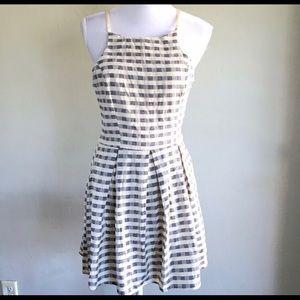 ANGL blue & white checker gingham print dress